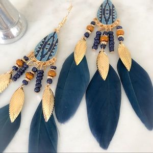 Jewelry - 🆕 Boho Blue Feather Earrings with Gold Accent